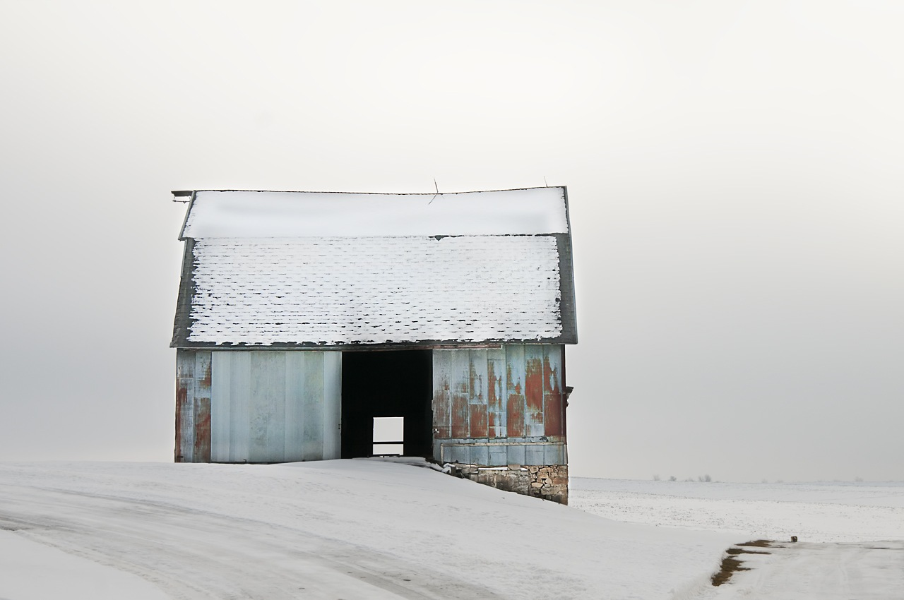 Blue Barn in Fog - Rachel Cain - NMPC