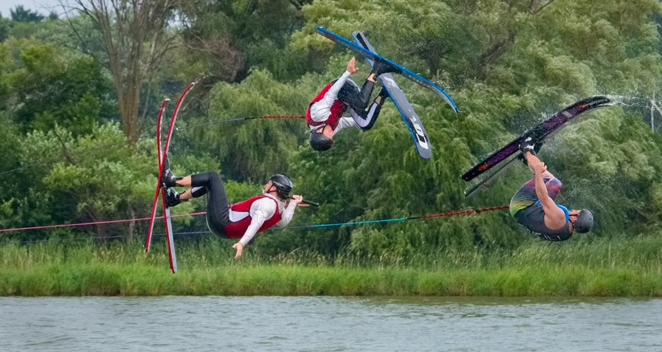 Waterskiers do flips - Kathy Wall - NMPC