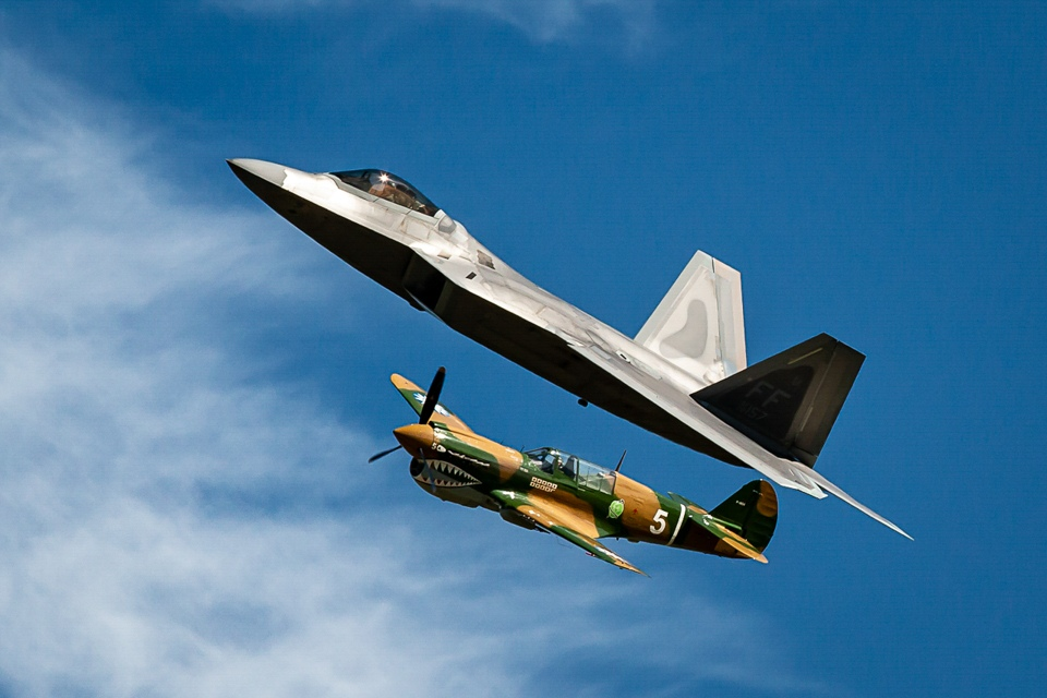 Honorable Mention - P-40 Warhawk and  F-22 Raptor - Doug Heimstead North Metro Camera Club
