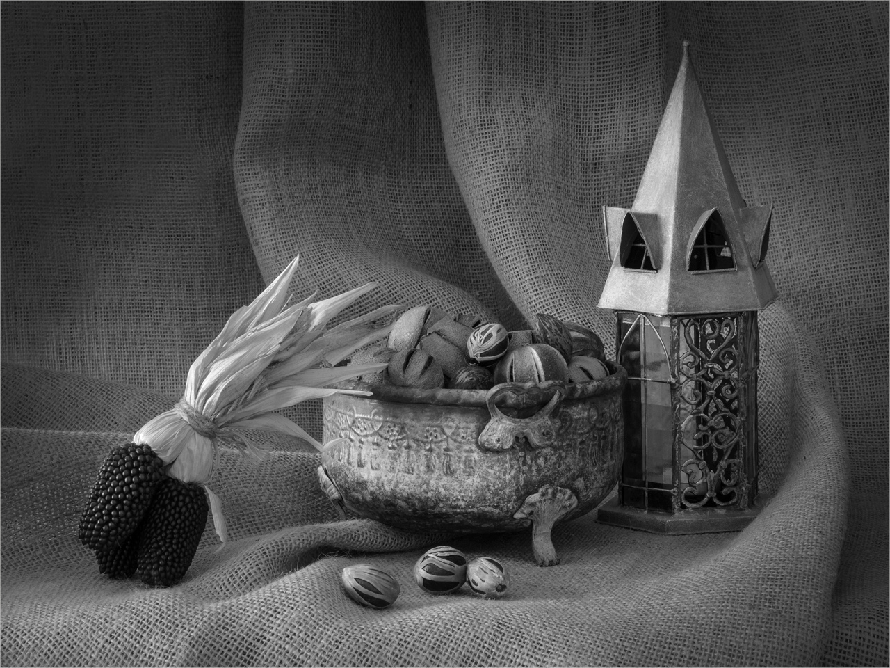 Honorable Mention - Metal Bowl and Lantern - Peggy  BoikeSCVCC - St. Croix Valley Camera Club
